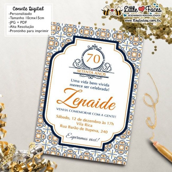 $35 00 Convite Aniversário Azulejo Português Para Imprimir