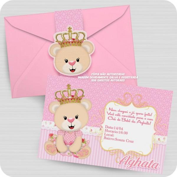 Convite Ursinha Princesa Personalizado