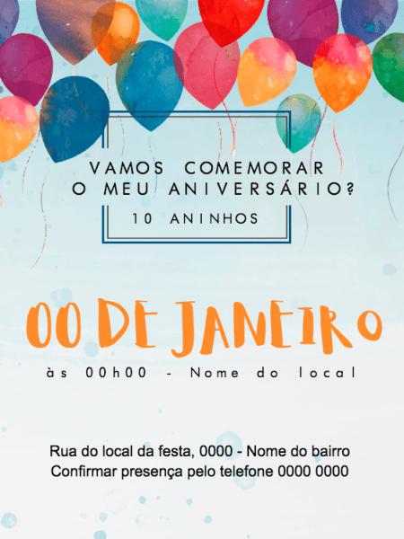 Convite Online Balões Editar Grátis