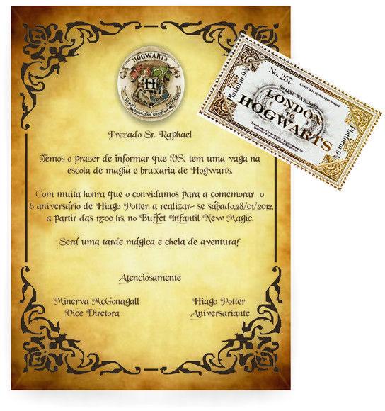 Convite Personalizado De Aniversário Com O Tema Harry Potter