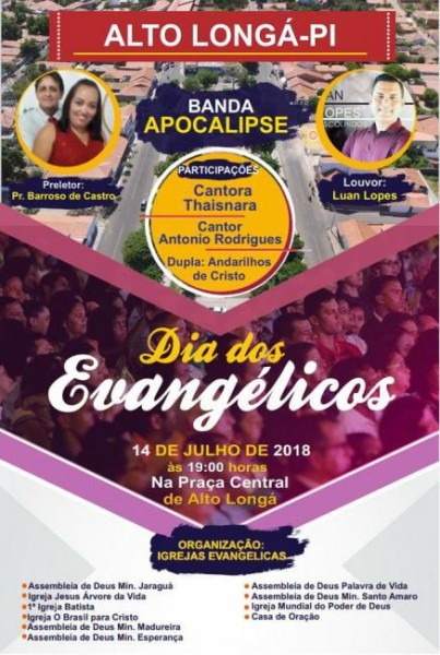 Convite Para Celebrar O Dia Do Evangélico Em Alto Longá