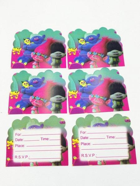 10 PÇs Lote Trolls Trolls CartÕes Do Convite Convites Da Festa De