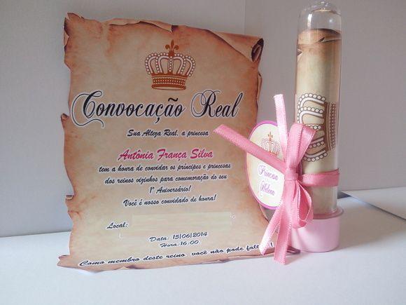 40 Convite Pergaminho Princesa, Tubete