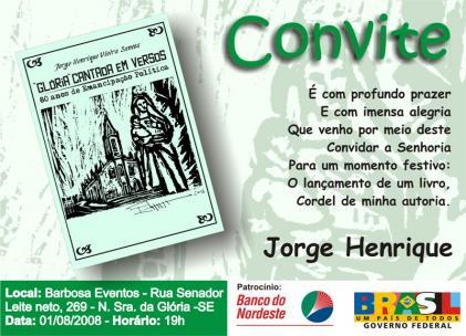 Lançamento Do Cordel  Glória Cantada Em Versos , Do Poeta Jorge