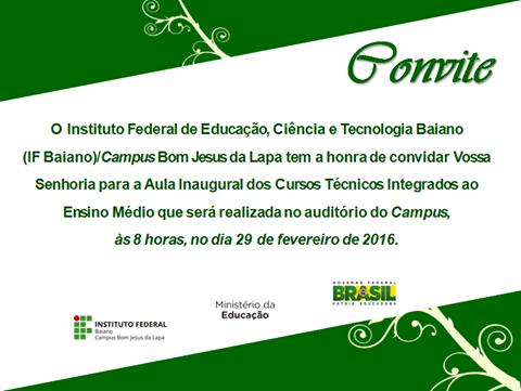 Campus Bom Jesus Da Lapa » Convite Para Aula Inaugural – Cursos
