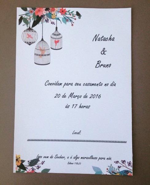 Convite Editável De Casamento Com Tema Passarinhos