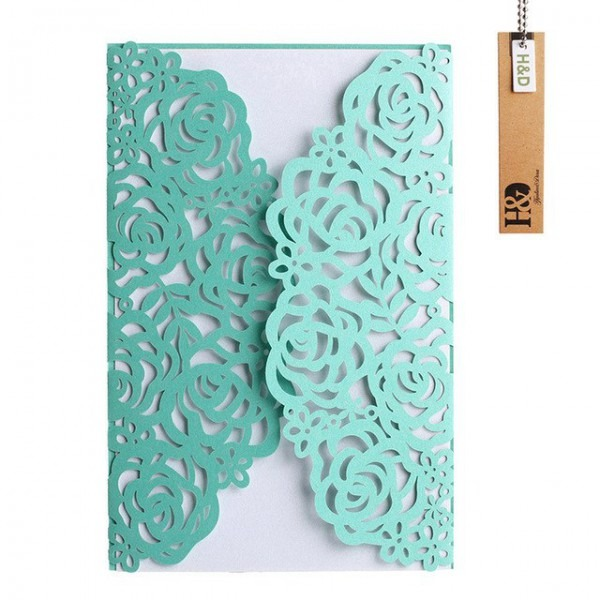 12pcs Tiffany Blue Laser Cut Wrap With Floral Patterned