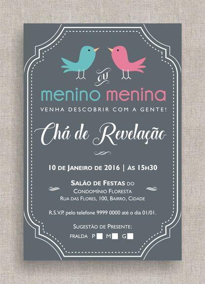 Convite Digital Chá De Fraldas 33 Convite Chá De Revelação, Tema