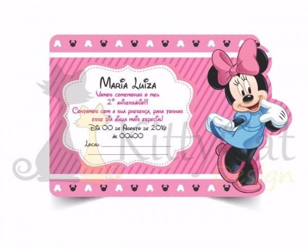 15 Convites Infantil Aniversário Minnie Rosa Vermelha