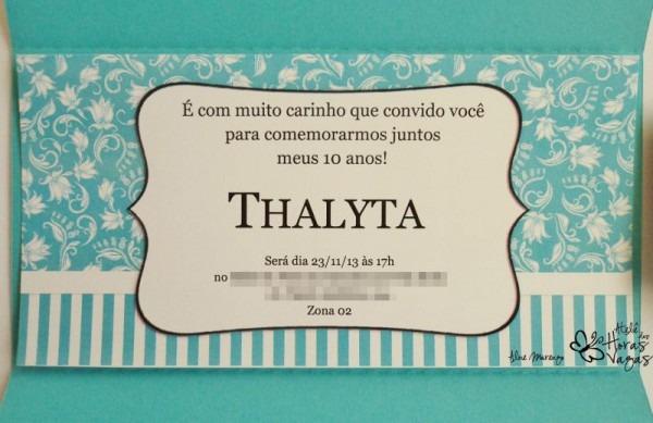 Convite Artesanal Tiffany