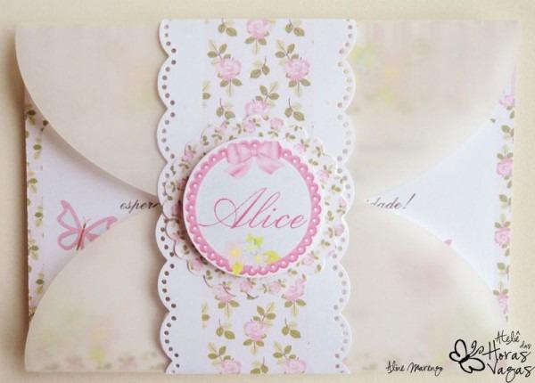 Convite Artesanal Jardim Encantado Provençal Floral Rosa   Por