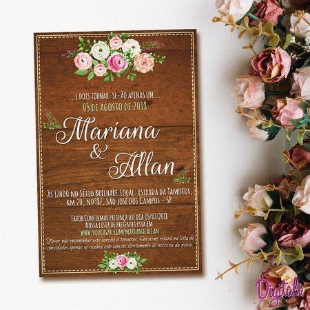 Convite Casamento Rústico Florido