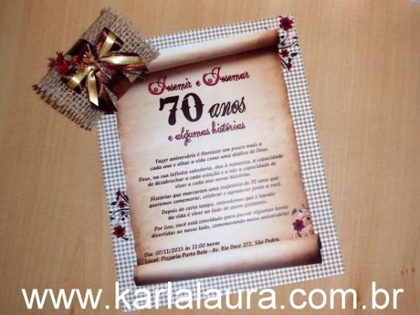 Convite De Aniversário Rústico 70 Anos