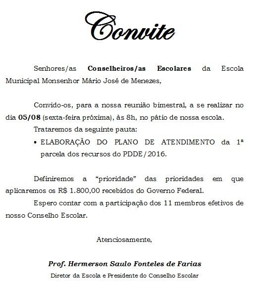 E  M  Mons  Mário José De Menezes  Conselho Escolar Define