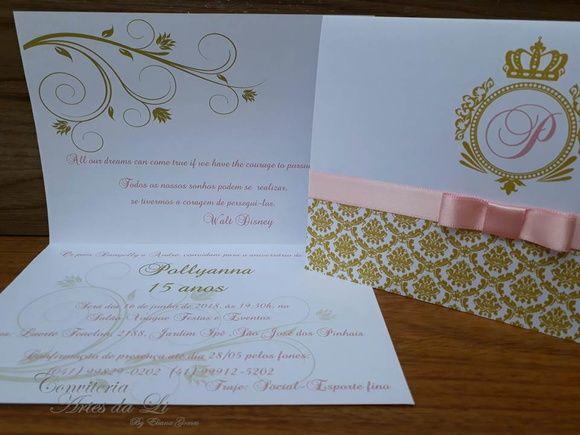 Promoção Convite 15 Anos  Casamento Dourado Com Rosa