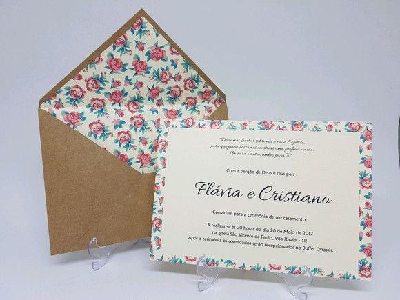 Convite Casamento Envelope Floral Forrad