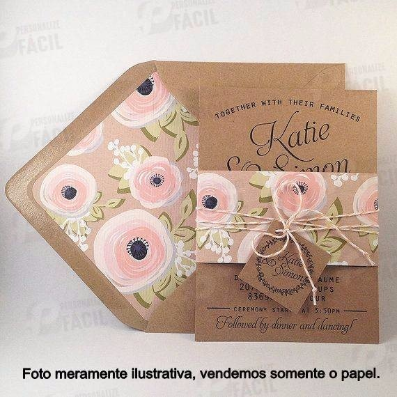 200 Folhas Papel Kraft 200g A4 P  Convite Casamento Rústico