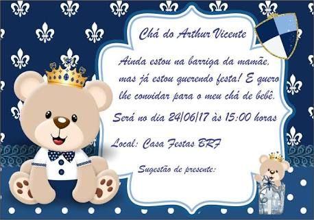 Resultado De Imagem Para Convite Aniversario Urso Principe