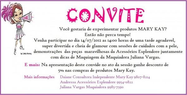 Pink Básico  Convite Para Tarde De Beleza Mary Kay!