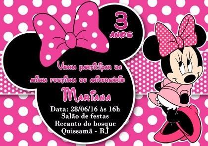 30 Convite De Aniversário Personalizado Minnie Rosa