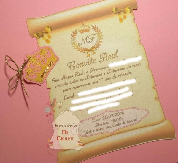 30 Convites Princesa Realeza Coroa Pergaminho