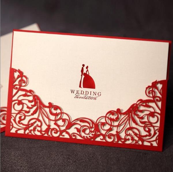 30 PÇs Lote Red Cartão Do Convite Do Casamento Com Envelope