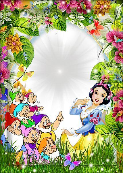 Convite Com Flores, Branca De Neve E Os Sete Anões