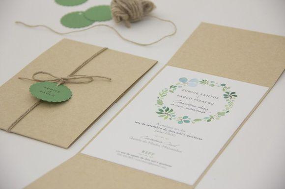 Convite De Casamento Com Detalhes Em Verde Medidas  13x18cm
