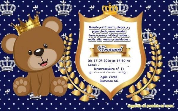 360 Convites Personalizados Chá De Bebê Ou Fraldas
