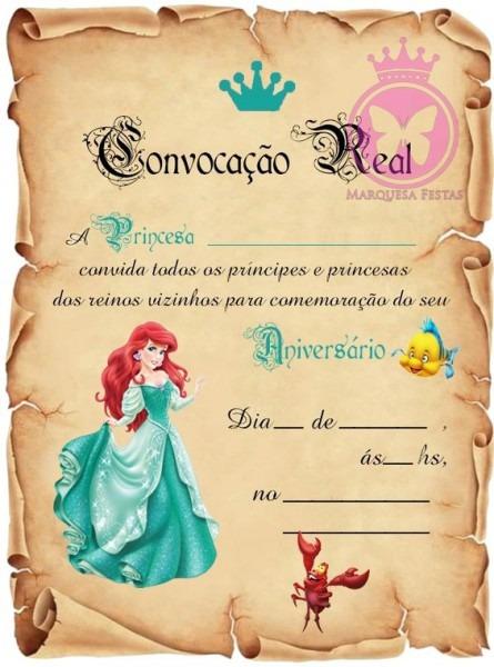 40 Festa Ariel Pequena Sereia Convite Aniversário Pronta Ent