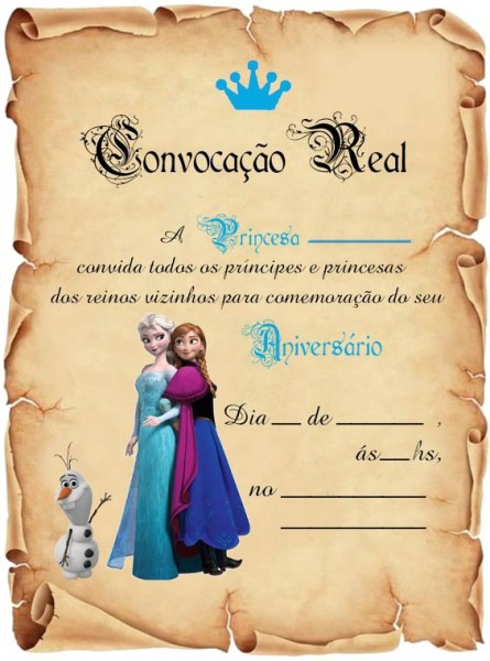 40 Festa Frozen Convite Aniversário Pergaminho