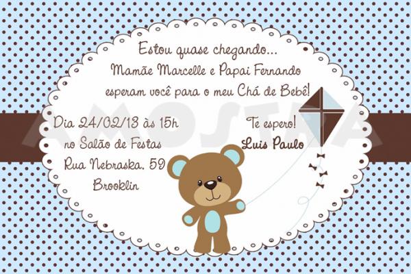 Convite Para Chá De Bebê Com Fundo Azul E Bolinhas Marrons