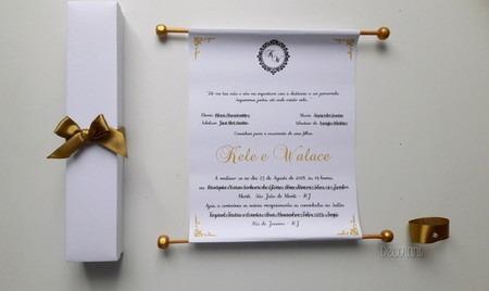 Convite De Casamento Pergaminho Com Caixa Branca