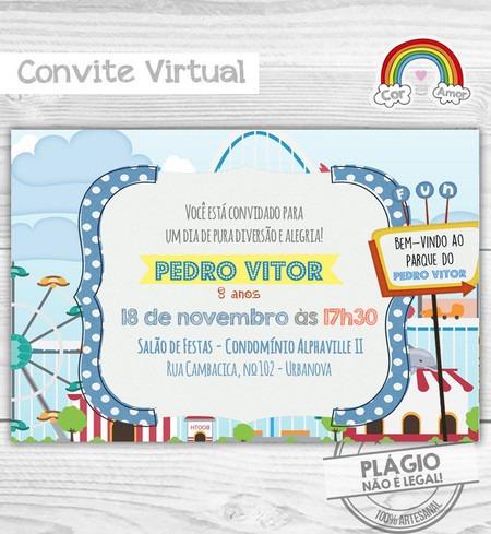 Convite Digital Parque De Diversões