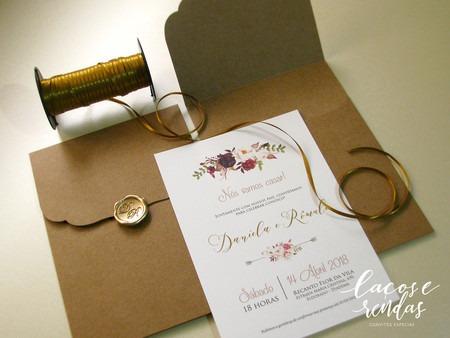 Convite De Casamento Floral RomÂntico E RÚstico