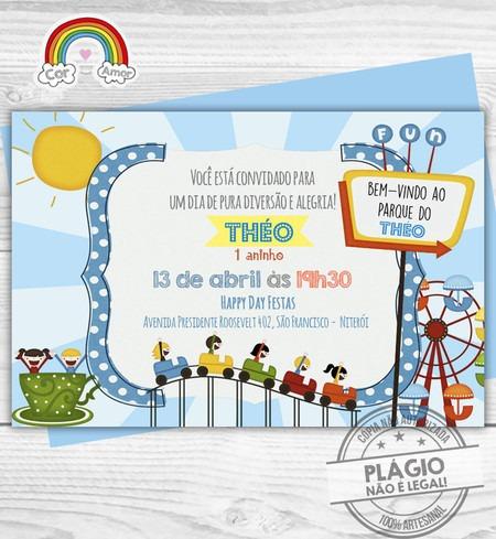 Convite Impresso Parque De Diversões