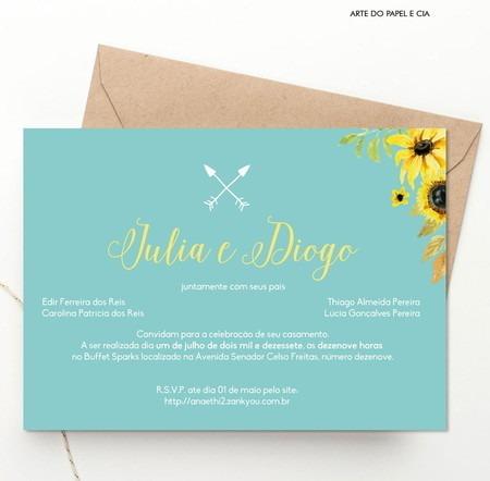 A18  Convite De Casamento Azul Tiffany E Amarelo Girassol