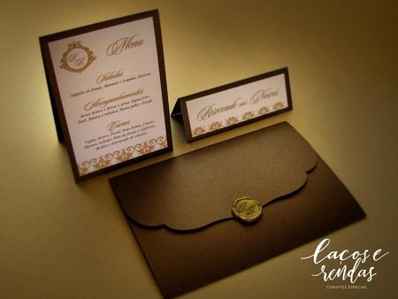 Convite De Casamento Luxo Com Lacre De Cera