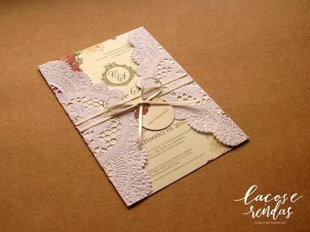 Convite De Casamento Romântico Com Papel Rendado