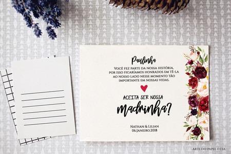 A181  Convite Madrinha Com Flores Marsala