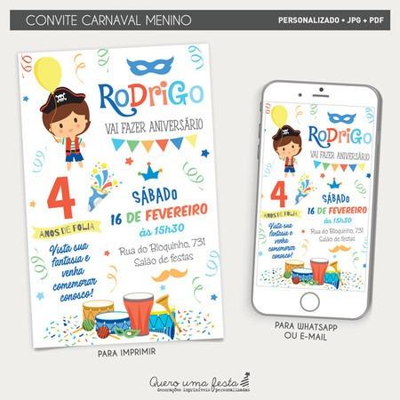 Convite Aniversário Carnaval