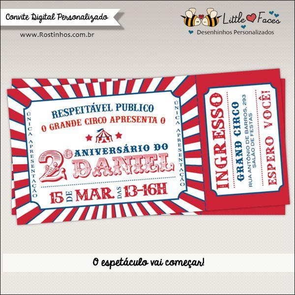 Convite Festa Circo Ingresso Digital