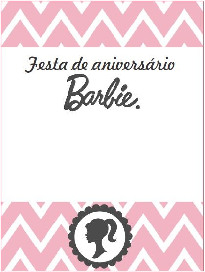 Convite Barbie Silhueta Para Imprimir