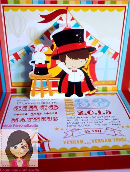Convite Popup 3d Circo ( Mágico )
