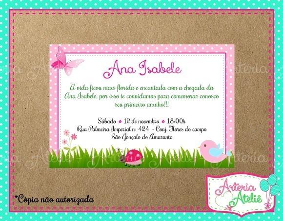 50 Convite Aniversário 7x10cm Festa Jardim Encantado