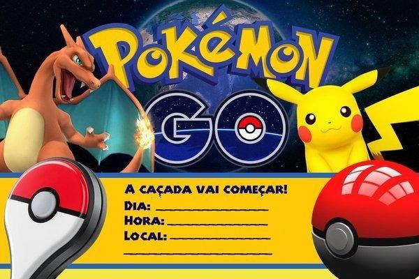 50 Convite Aniversário Pokemon Papel Fotográfico