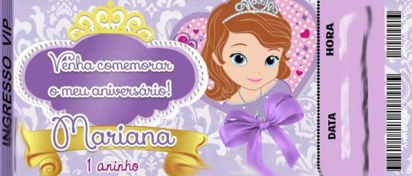 50 Convite Ingresso Aniversário Princesa Sophia Sofia 48hrs