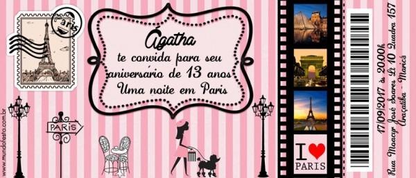 50 Convite Ingresso Aniversário S  Envelope Barbie Paris