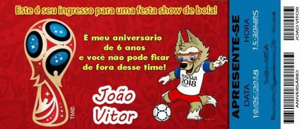 50 Convite Ingresso Futebol Copa Do Mundo 2018 Aniversário