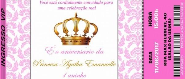 50 Convite Ingresso Princesa Coroa Realeza Aniversário